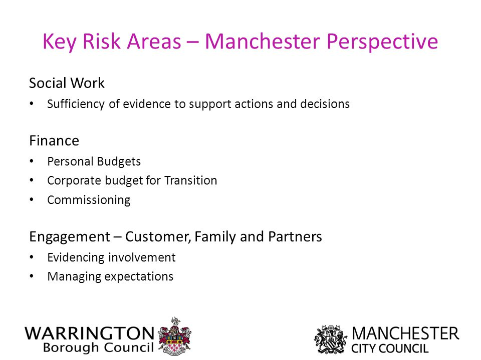 Key Risk Areas – Manchester Perspective Social Work Sufficiency of evidence to support actions and decisions Finance Personal Budgets Corporate budget