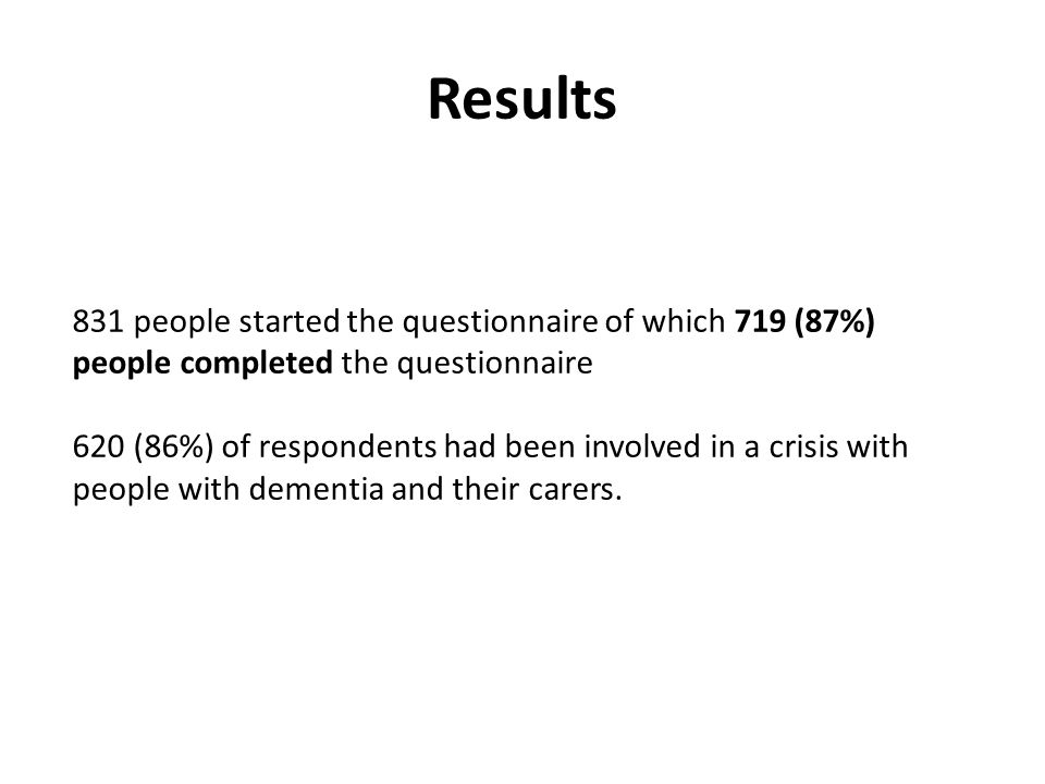 Results 831 people started the questionnaire of which 719 (87%) people completed the questionnaire 620 (86%) of respondents had been involved in a crisis with people with dementia and their carers.