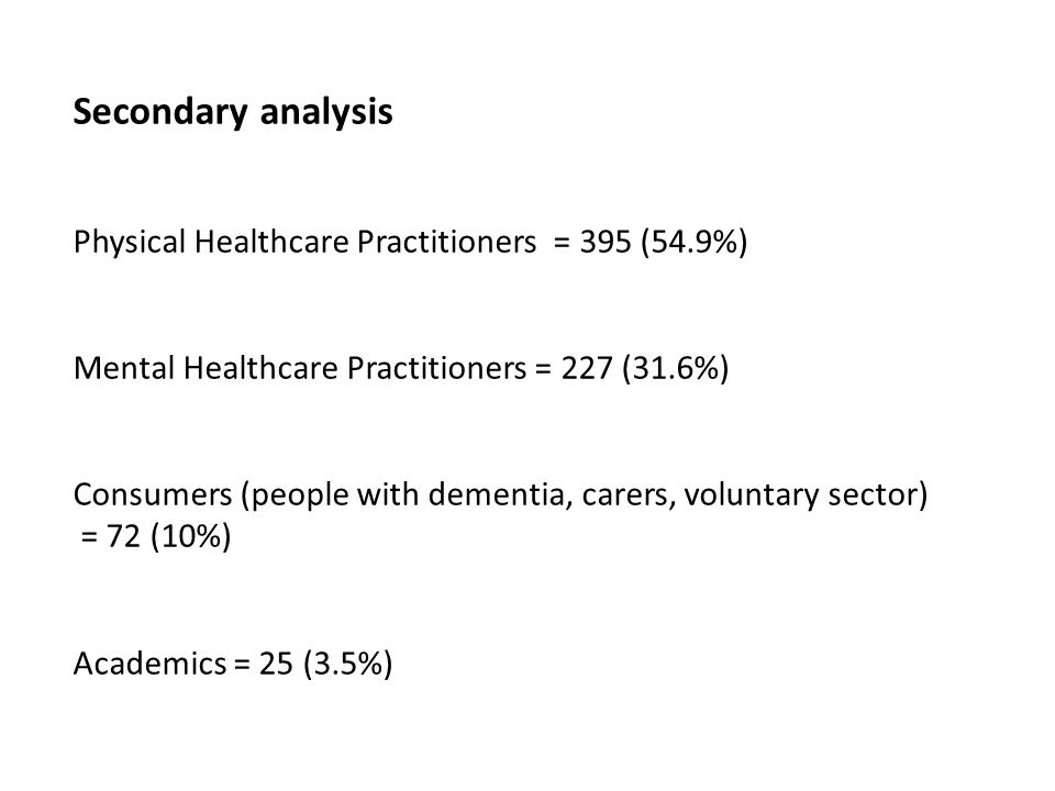 Secondary analysis Physical Healthcare Practitioners = 395 (54.9%) Mental Healthcare Practitioners = 227 (31.6%) Consumers (people with dementia, carers, voluntary sector) = 72 (10%) Academics = 25 (3.5%)