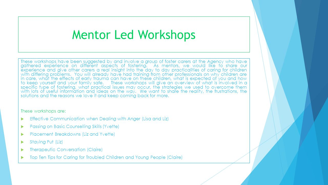 Mentor Led Workshops These workshops have been suggested by and involve a group of foster carers at the Agency who have gathered experience on differe
