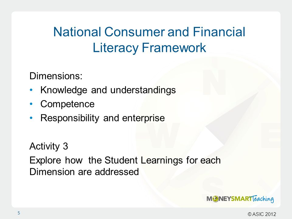 © ASIC 2012 National Consumer and Financial Literacy Framework Dimensions: Knowledge and understandings Competence Responsibility and enterprise Activ