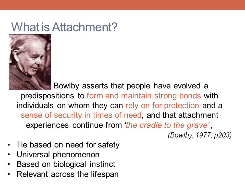 What is Attachment? Bowlby asserts that people have evolved a predispositions to form and maintain strong bonds with individuals on whom they can rely