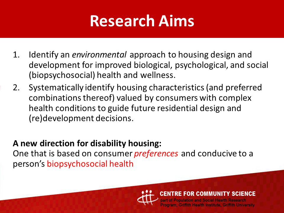 1.Identify an environmental approach to housing design and development for improved biological, psychological, and social (biopsychosocial) health and
