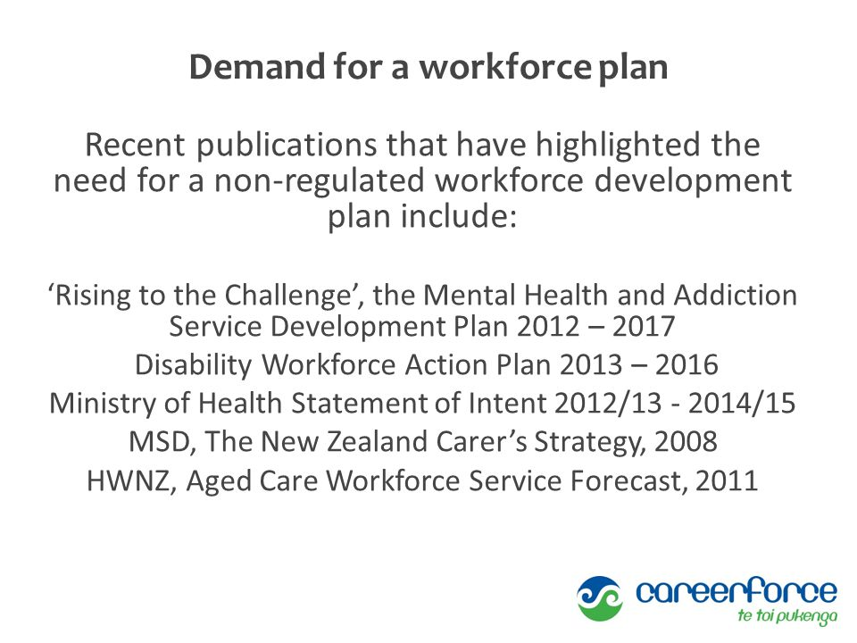 Demand for a workforce plan Recent publications that have highlighted the need for a non-regulated workforce development plan include: 'Rising to the Challenge', the Mental Health and Addiction Service Development Plan 2012 – 2017 Disability Workforce Action Plan 2013 – 2016 Ministry of Health Statement of Intent 2012/13 - 2014/15 MSD, The New Zealand Carer's Strategy, 2008 HWNZ, Aged Care Workforce Service Forecast, 2011