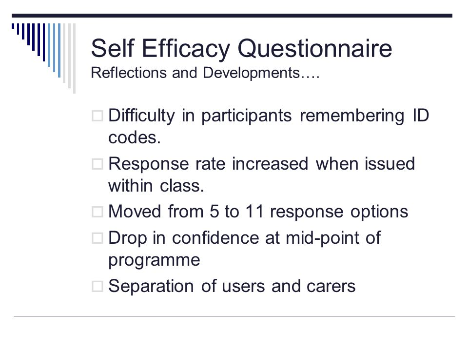 Self Efficacy Questionnaire Reflections and Developments….