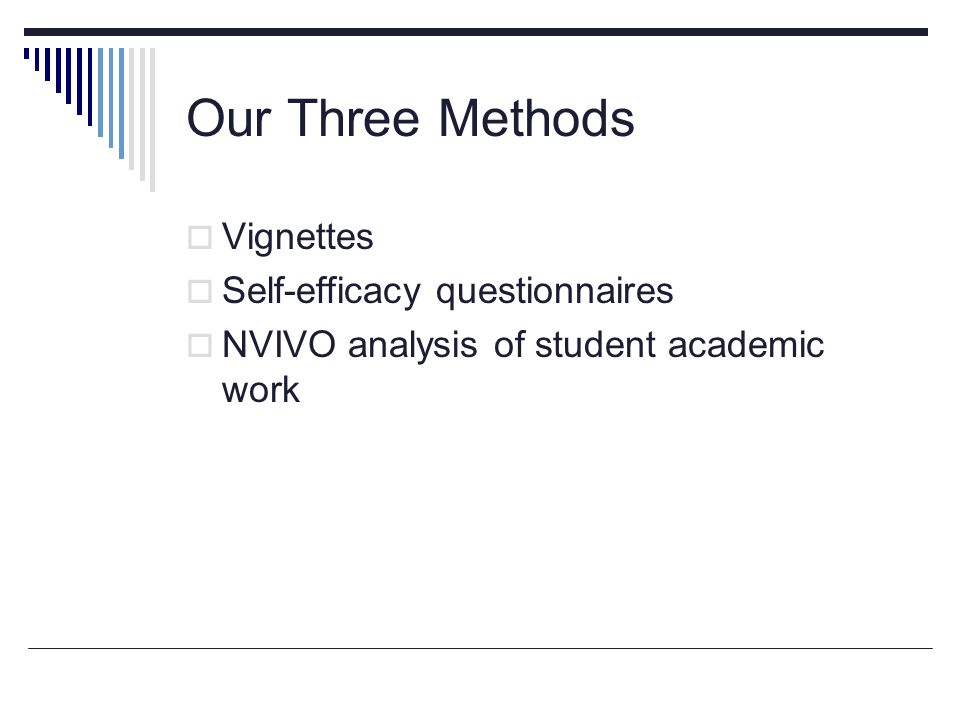Our Three Methods  Vignettes  Self-efficacy questionnaires  NVIVO analysis of student academic work