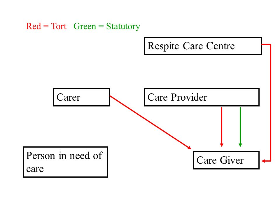 Respite Care Centre Care Provider Care Giver Person in need of care Carer Red = Tort Green = Statutory