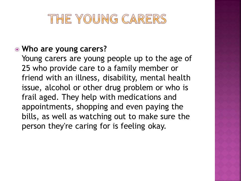  Who are young carers.