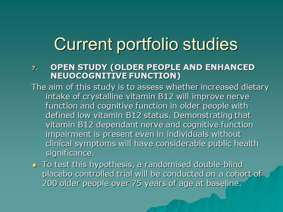 Current portfolio studies 7.