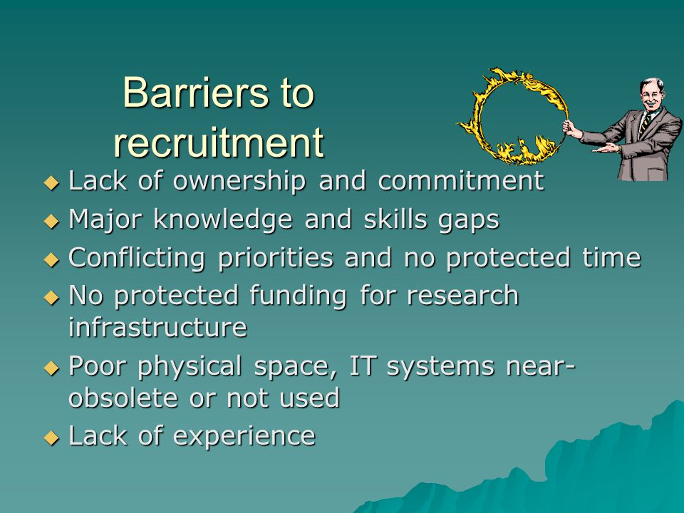 Barriers to recruitment  Lack of ownership and commitment  Major knowledge and skills gaps  Conflicting priorities and no protected time  No protected funding for research infrastructure  Poor physical space, IT systems near- obsolete or not used  Lack of experience