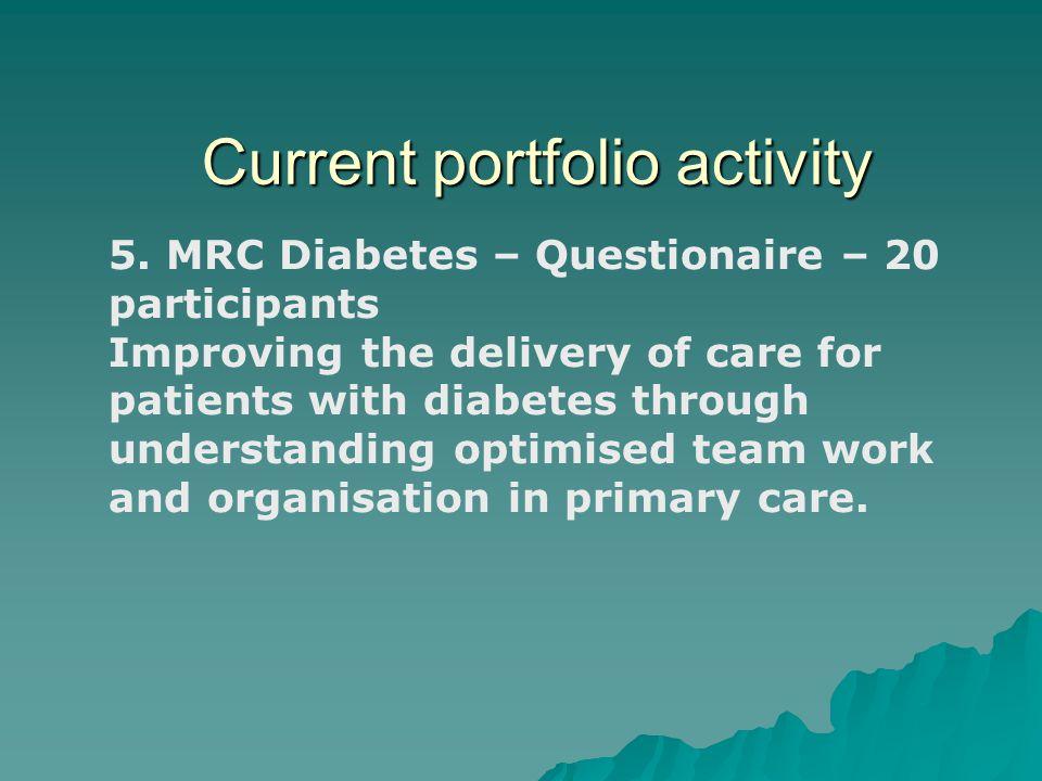 Current portfolio activity 5.