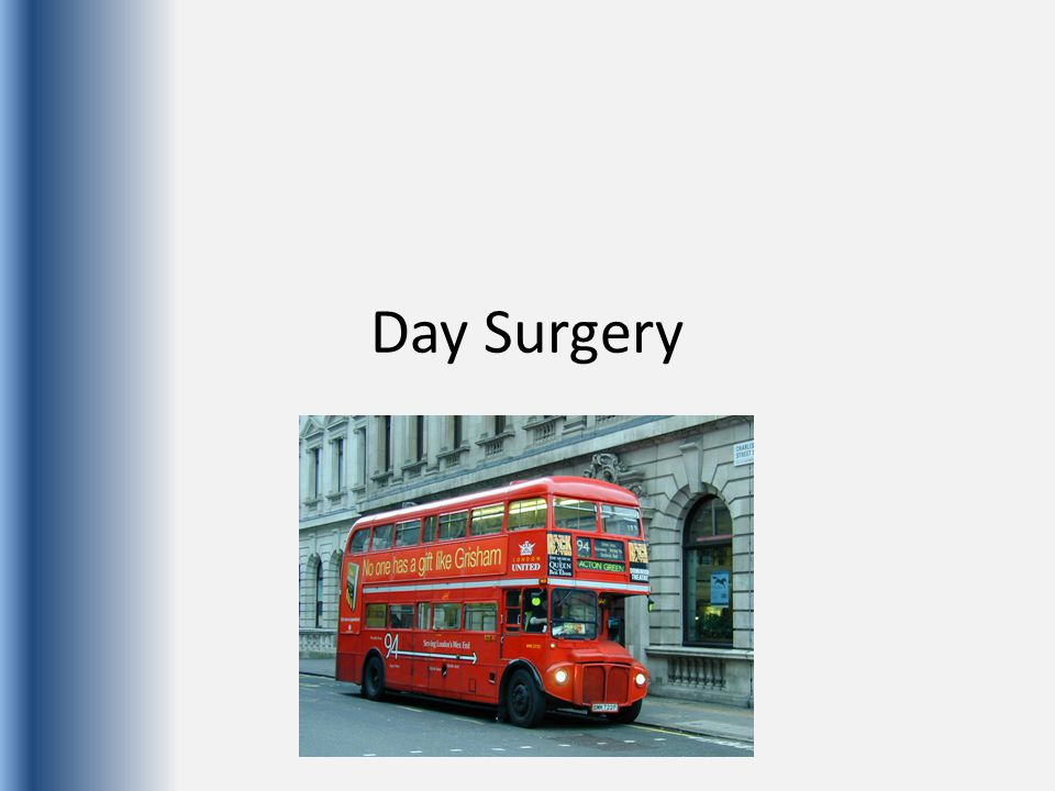 Increasing complexity of day-case procedures Wider range of patients deemed suitable for day-case surgery Anaesthetists need to adopt techniques which allow rapid recovery of the patient, whilst minimising stress and discomfort.