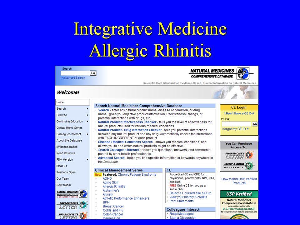 Integrative Medicine Allergic Rhinitis Natural Medicines Comprehensive Database