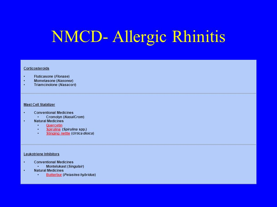 NMCD- Allergic Rhinitis Corticosteroids Fluticasone (Flonase) Mometasone (Nasonex) Triamcinolone (Nasacort) Mast Cell Stabilizer Conventional Medicines Cromolyn (NasalCrom) Natural Medicines Quercetin Spirulina (Spirulina spp.)Spirulina Stinging nettle (Urtica dioica)Stinging nettle Leukotriene Inhibitors Conventional Medicines Montelukast (Singulair) Natural Medicines Butterbur (Petasites hybridus)Butterbur
