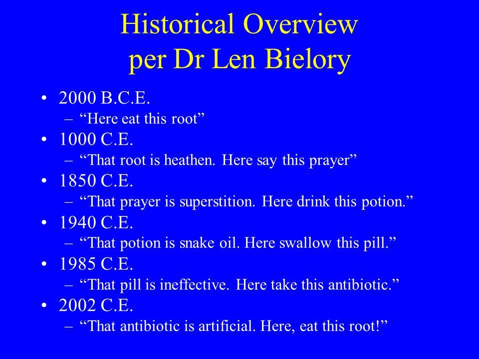Historical Overview per Dr Len Bielory 2000 B.C.E.