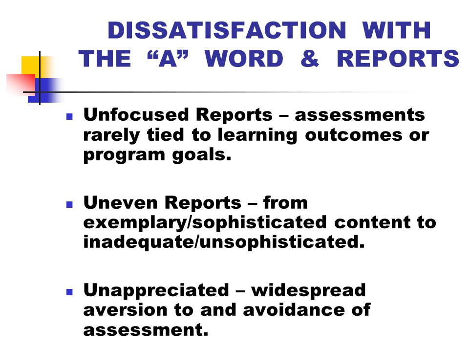 ASSESSMENT REPORTING PRIOR TO 2003 From 1994 to 2003, academic departments at KSU sent their annual assessment reports to the Office of Institutional Planning.