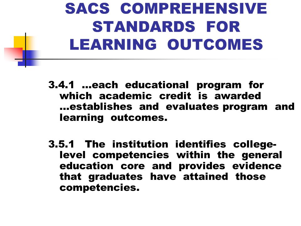 SACS COMPREHENSIVE STANDARDS FOR LEARNING OUTCOMES 3.4.1 …each educational program for which academic credit is awarded …establishes and evaluates program and learning outcomes.