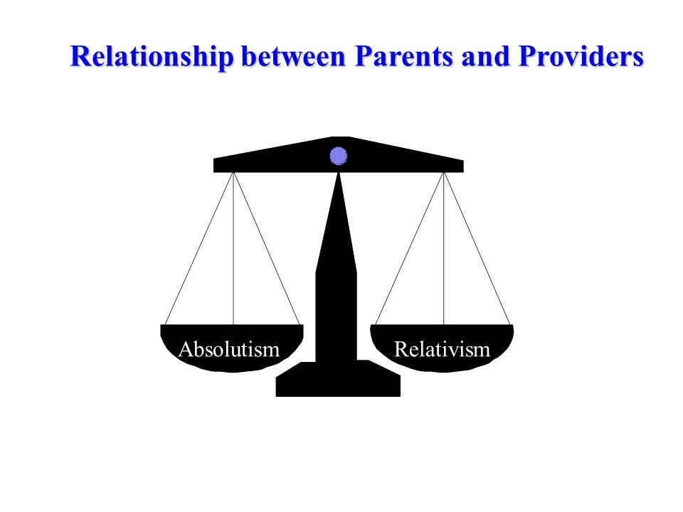 AbsolutismRelativism Relationship between Parents and Providers