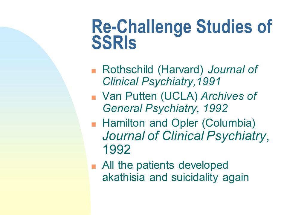 Re-Challenge Studies of SSRIs n Rothschild (Harvard) Journal of Clinical Psychiatry,1991 n Van Putten (UCLA) Archives of General Psychiatry, 1992 n Ha