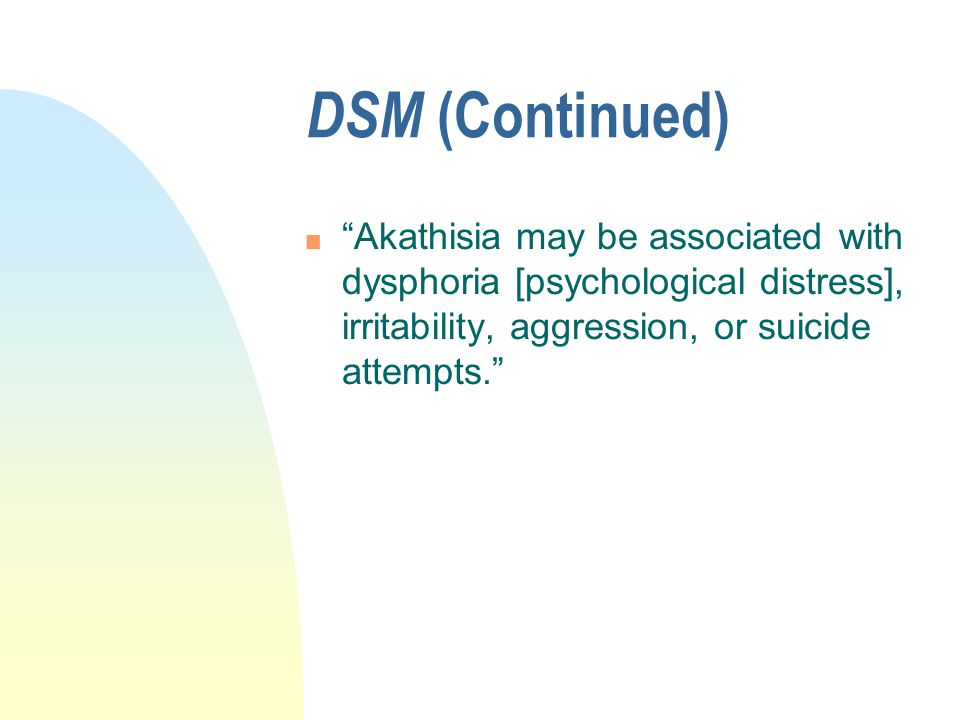 APA Textbook of Psychopharmacology n Akathisia, however, is the most common neurological symptom caused by SSRIs. p.