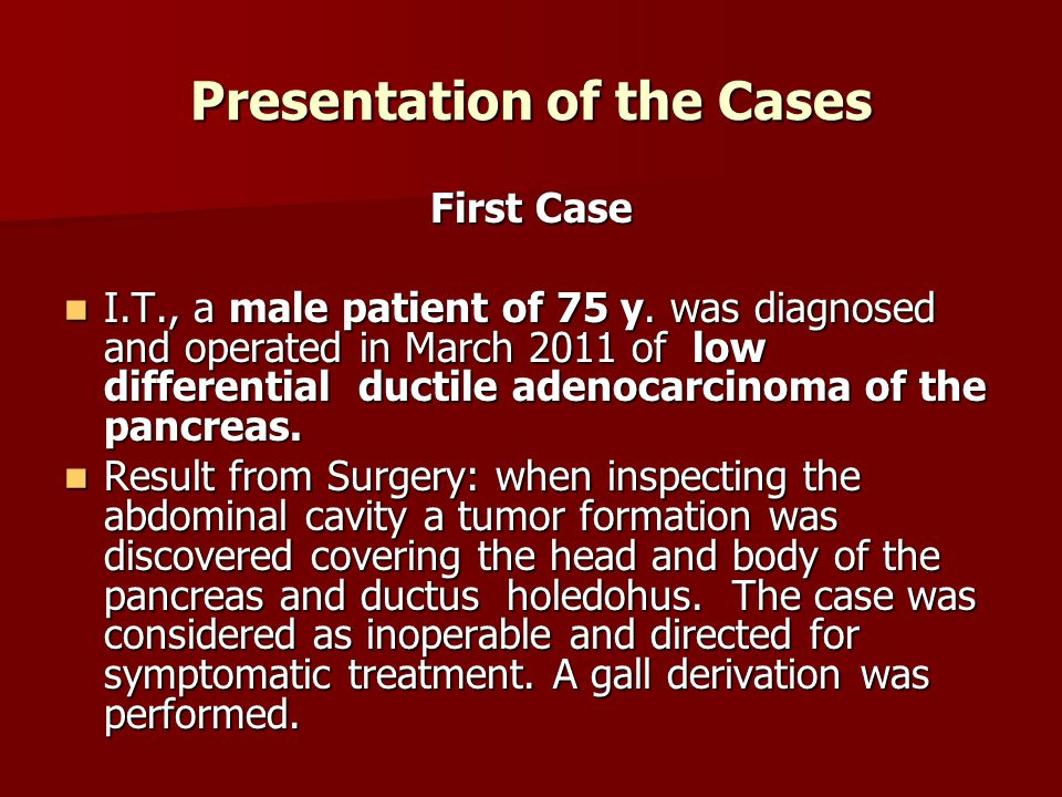 Presentation of the Cases First Case I.T., a male patient of 75 y.