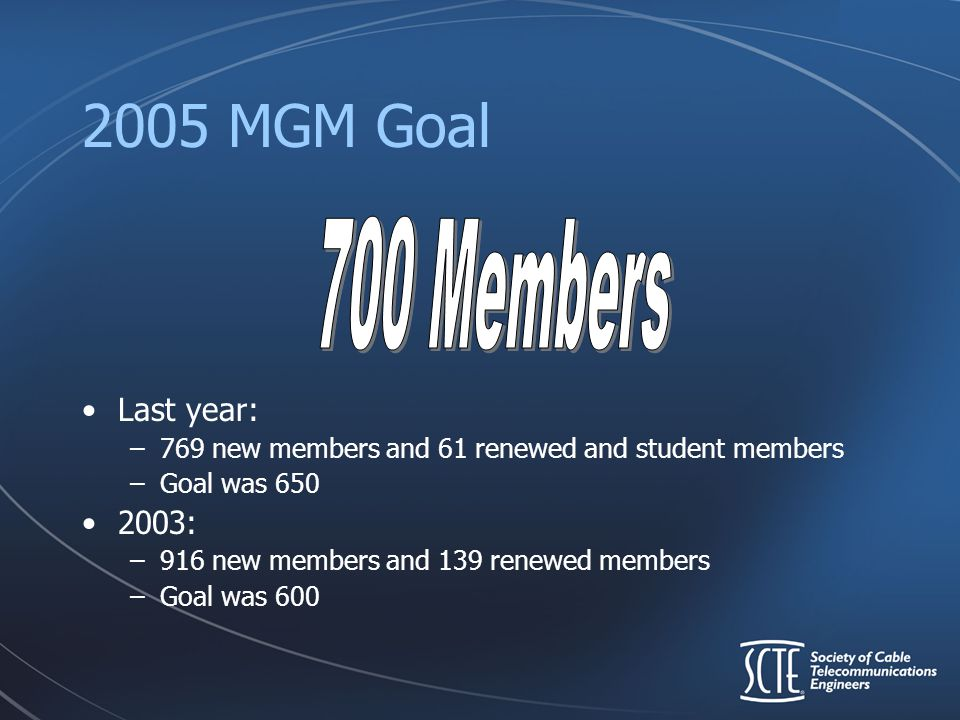 2005 MGM Goal Last year: –769 new members and 61 renewed and student members –Goal was 650 2003: –916 new members and 139 renewed members –Goal was 60