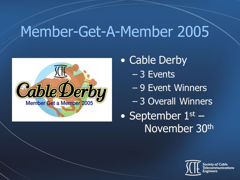 Member-Get-A-Member 2005 Cable Derby –3 Events –9 Event Winners –3 Overall Winners September 1 st – November 30 th
