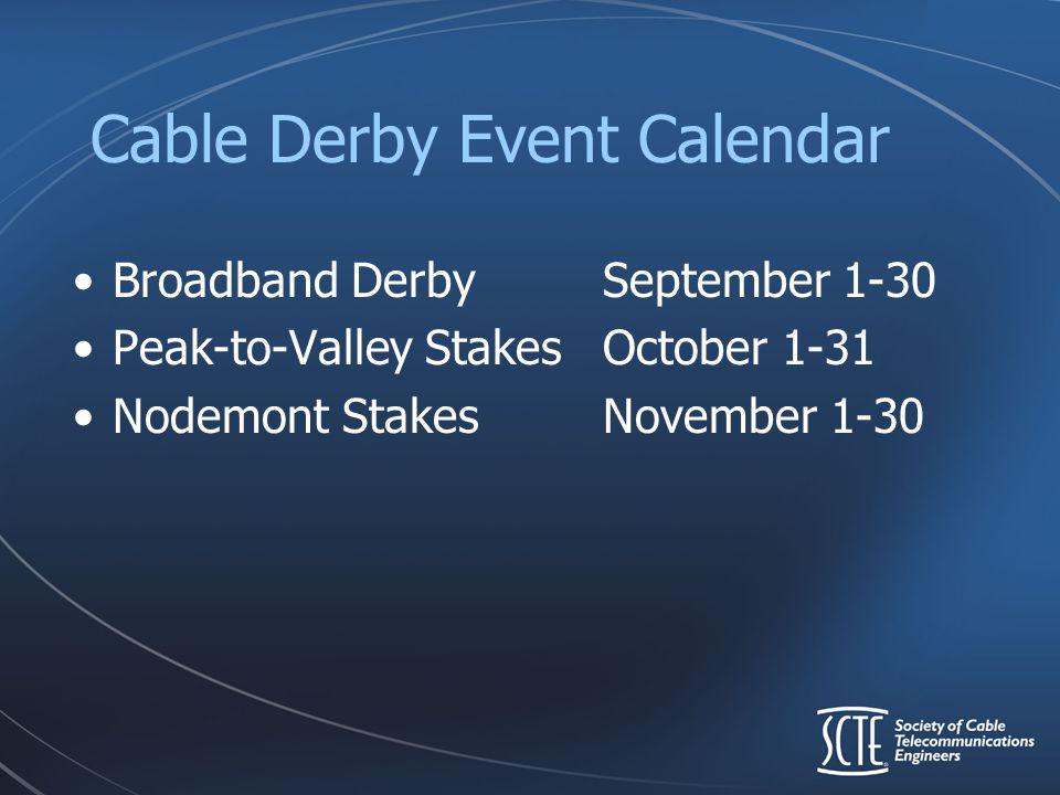 Cable Derby Event Calendar Broadband DerbySeptember 1-30 Peak-to-Valley StakesOctober 1-31 Nodemont StakesNovember 1-30