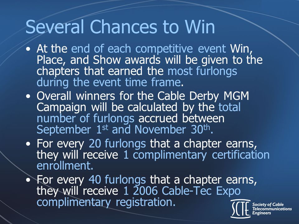 Several Chances to Win At the end of each competitive event Win, Place, and Show awards will be given to the chapters that earned the most furlongs du
