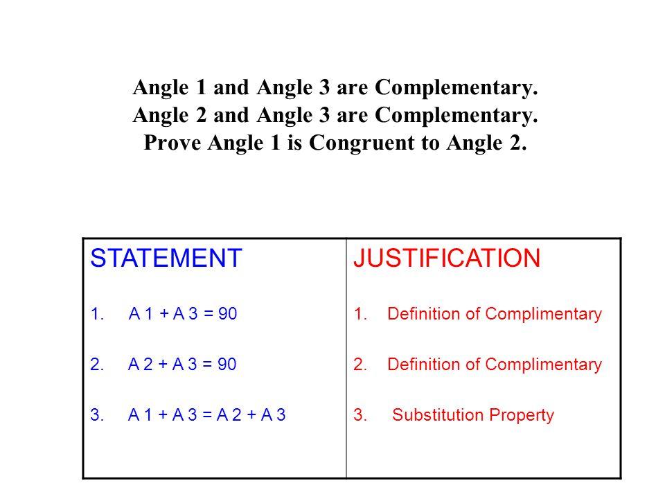 Angle 1 and Angle 3 are Complementary.Angle 2 and Angle 3 are Complementary.