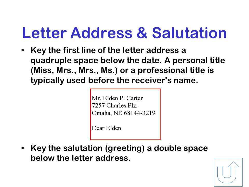 Return Address & Date In personal-business letters, the return address consists of a line for the –street address and one for the –city, state, and ZIP Code.