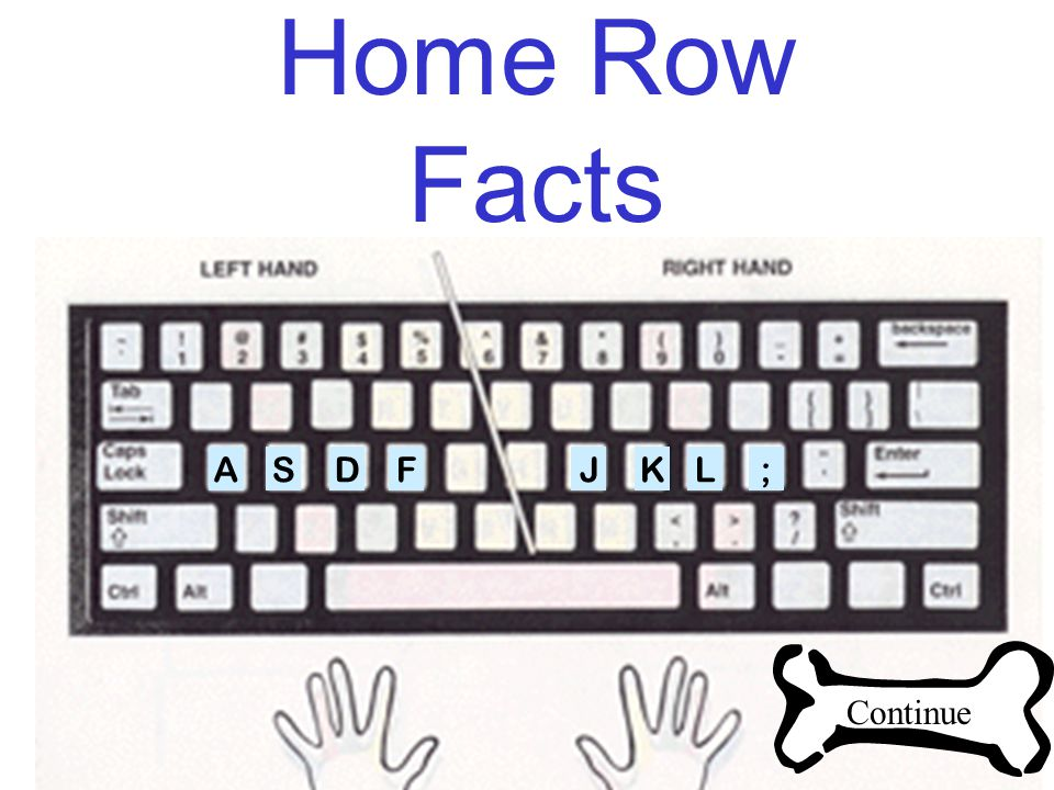 Home Row Facts ASDFJKL; Continue