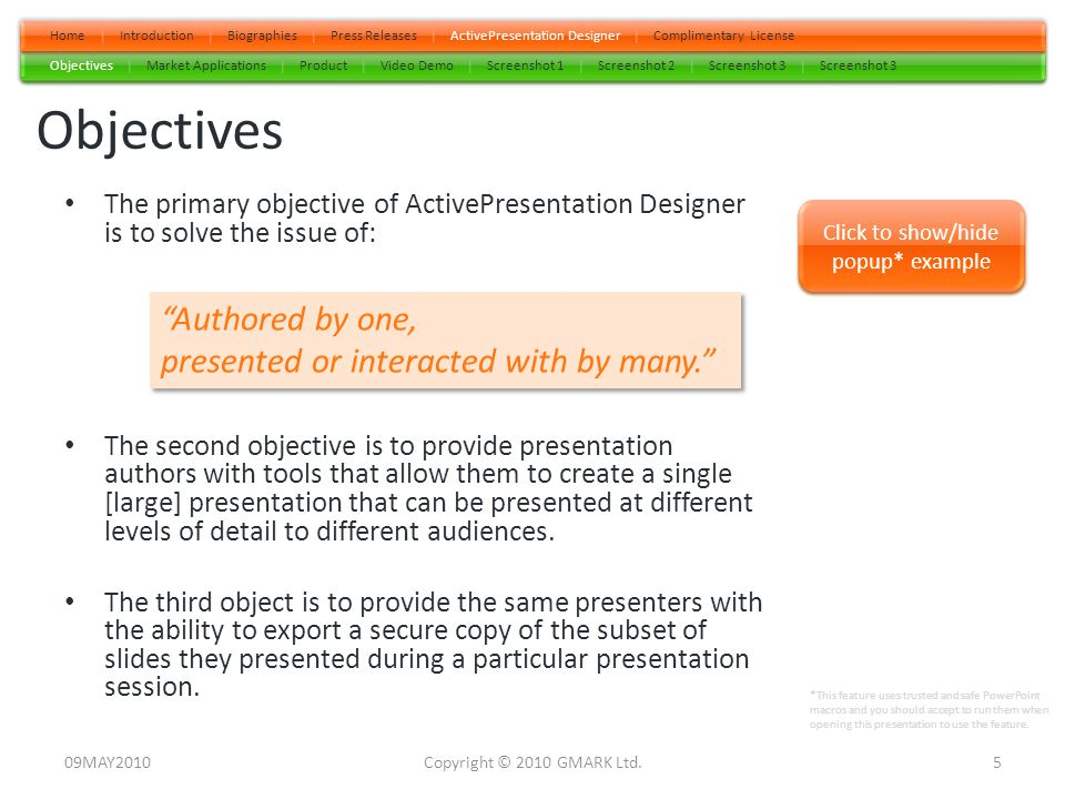 Press Release – 11MAY2010 GMARK Launches World's First Web-Like, PowerPoint® Navigation Software.