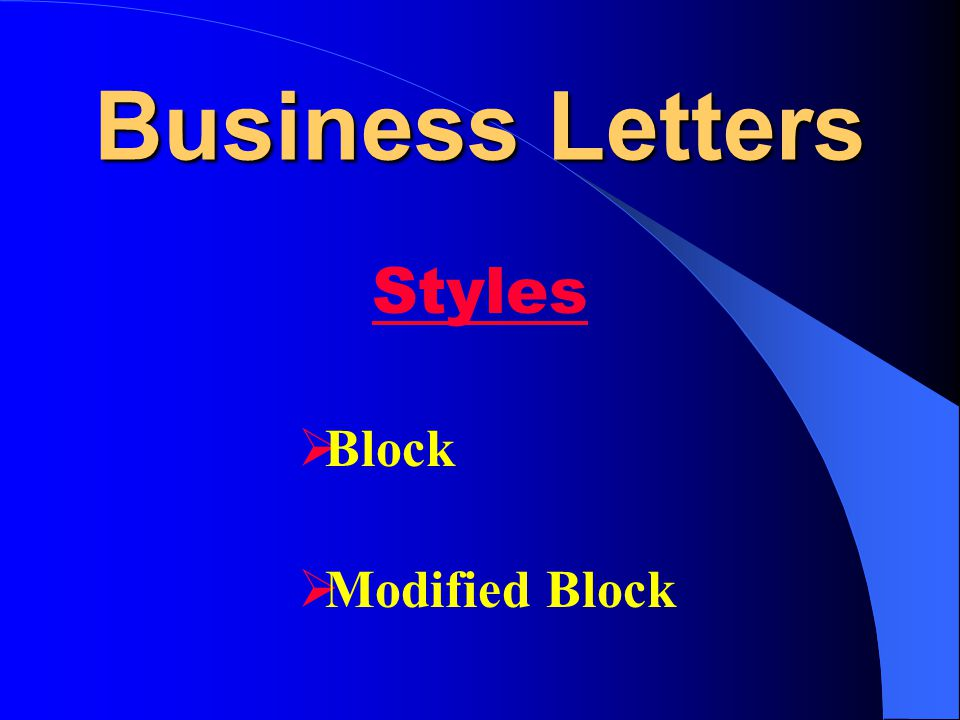 Business Letters  Block  Modified Block Styles