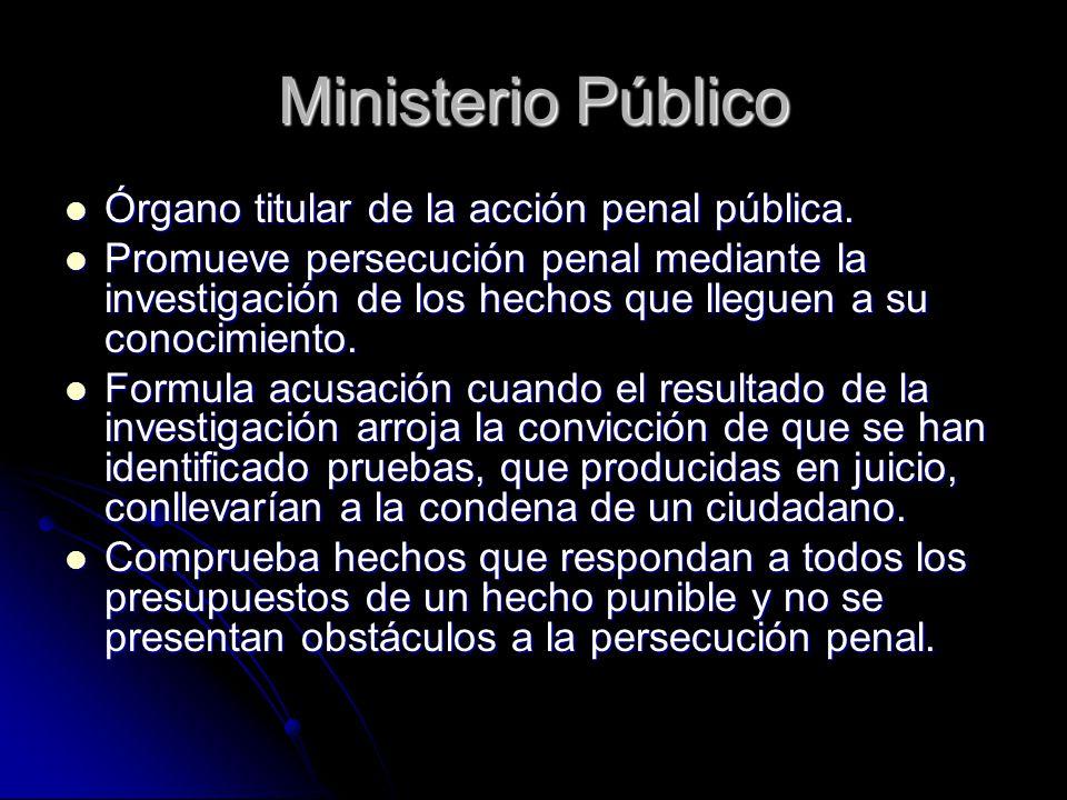 Ministerio Público Órgano titular de la acción penal pública.
