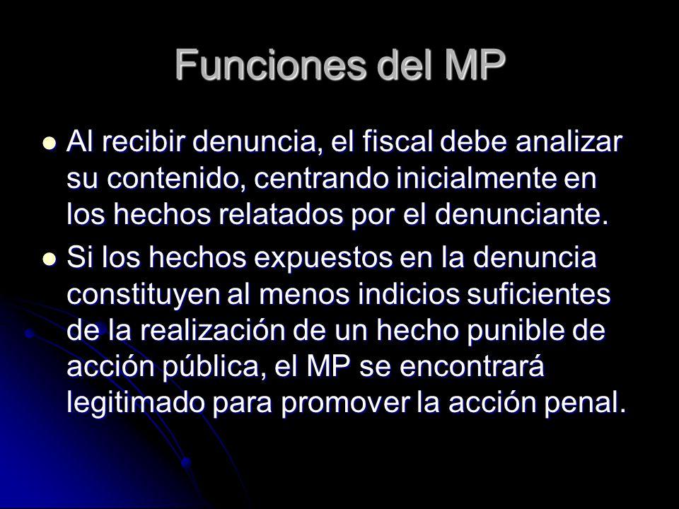 Funciones del MP Al recibir denuncia, el fiscal debe analizar su contenido, centrando inicialmente en los hechos relatados por el denunciante.