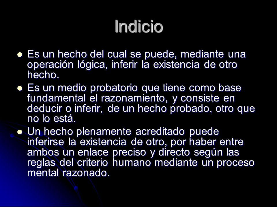 Indicio Es un hecho del cual se puede, mediante una operación lógica, inferir la existencia de otro hecho.