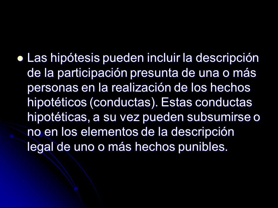 Las hipótesis pueden incluir la descripción de la participación presunta de una o más personas en la realización de los hechos hipotéticos (conductas).