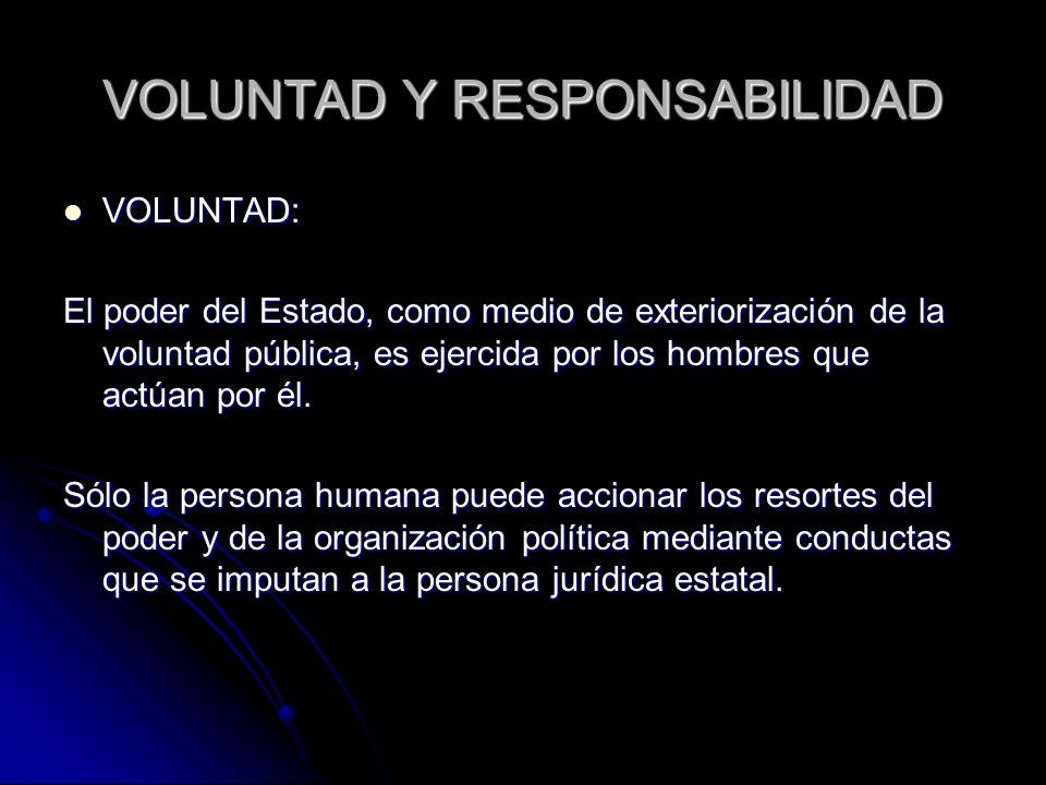 VOLUNTAD Y RESPONSABILIDAD VOLUNTAD: VOLUNTAD: El poder del Estado, como medio de exteriorización de la voluntad pública, es ejercida por los hombres que actúan por él.