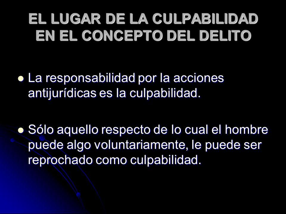 EL LUGAR DE LA CULPABILIDAD EN EL CONCEPTO DEL DELITO La responsabilidad por la acciones antijurídicas es la culpabilidad.