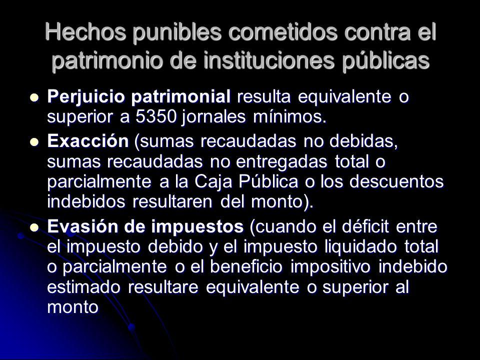 Hechos punibles cometidos contra el patrimonio de instituciones públicas Perjuicio patrimonial resulta equivalente o superior a 5350 jornales mínimos.