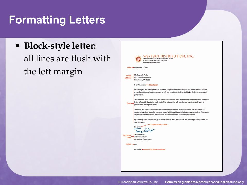 Permission granted to reproduce for educational use only.© Goodheart-Willcox Co., Inc. Formatting Letters Block-style letter: all lines are flush with