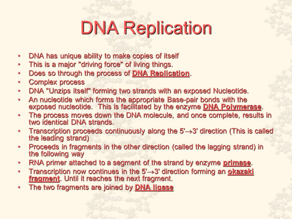 DNA Replication DNA has unique ability to make copies of itselfDNA has unique ability to make copies of itself This is a major driving force of living things.This is a major driving force of living things.