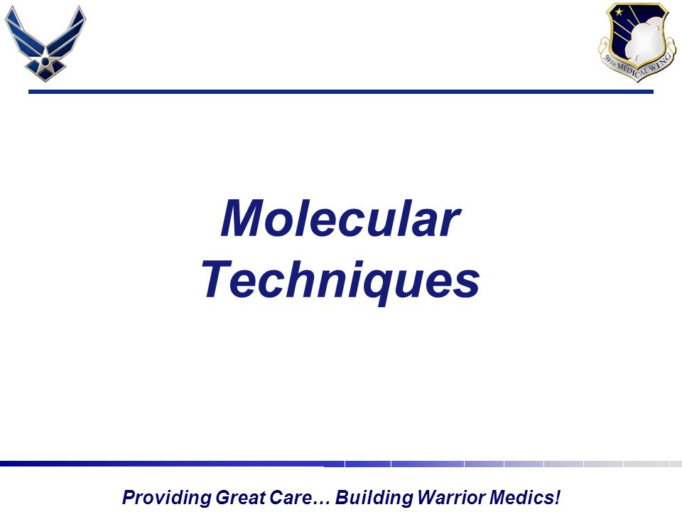 Providing Great Care… Building Warrior Medics! Molecular Techniques