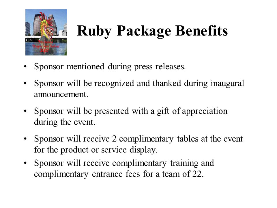 Sapphire Package Benefits Sponsor mentioned during press releases.