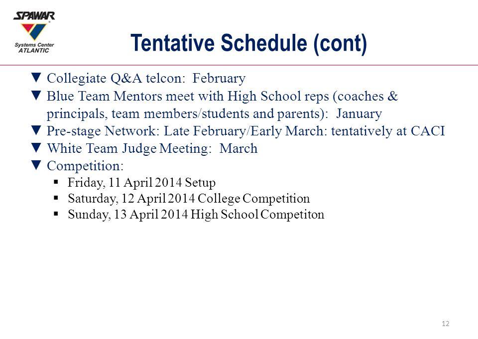Tentative Schedule (cont) 12 ▼Collegiate Q&A telcon: February ▼Blue Team Mentors meet with High School reps (coaches & principals, team members/studen
