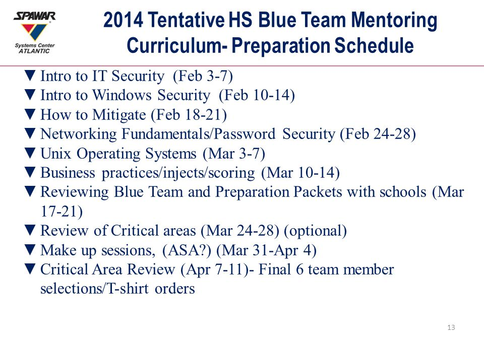 2014 Tentative HS Blue Team Mentoring Curriculum- Preparation Schedule 13 ▼Intro to IT Security (Feb 3-7) ▼Intro to Windows Security (Feb 10-14) ▼How