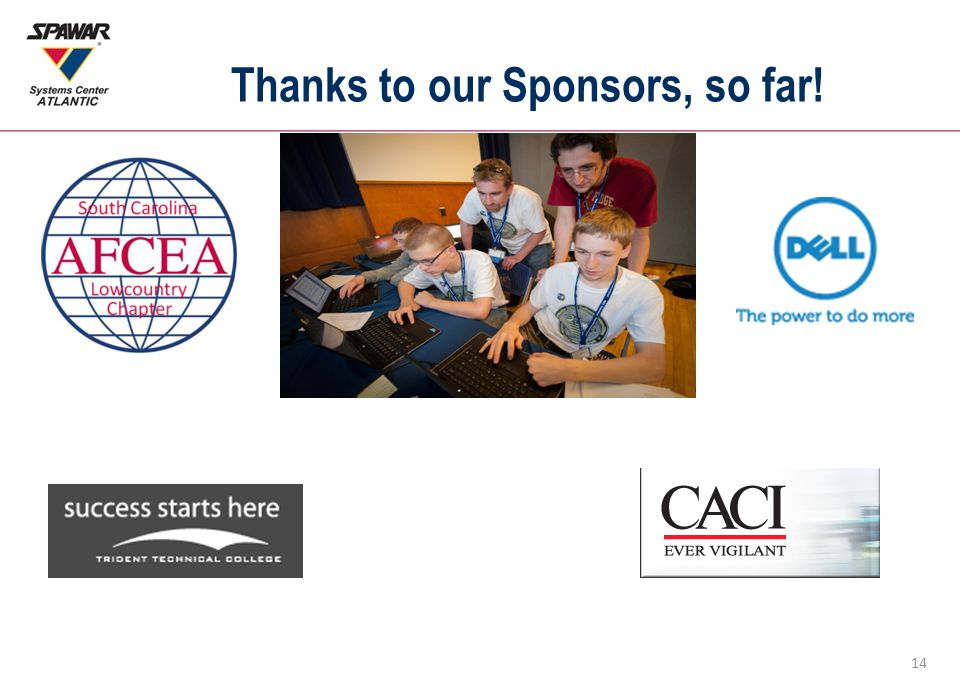 14 Thanks to our Sponsors, so far!