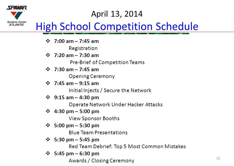 April 13, 2014 High School Competition Schedule  7:00 am – 7:45 am Registration  7:20 am – 7:30 am Pre-Brief of Competition Teams  7:30 am – 7:45 a