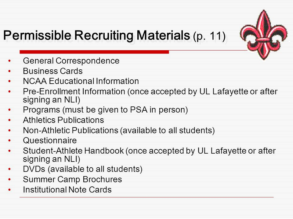 Permissible Recruiting Materials (p.
